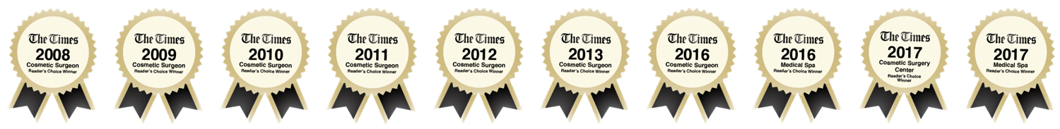 The Times Cosmetic Surgeon award for 10+ years